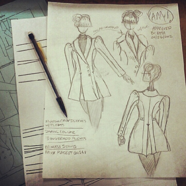 The sketch for my wool coat project