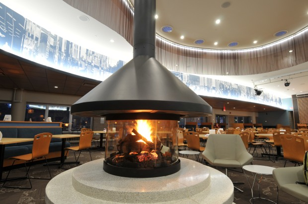 MSC, memorial student center, inside, fireside cafe, fireplace,